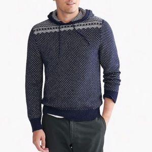 J crew fair isle Nordic heart print hoodie